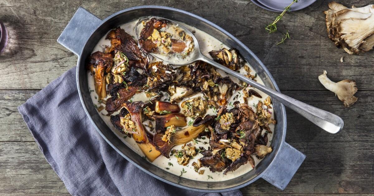 Roast mushrooms steal the spotlight in a vegetarian spin on stroganoff