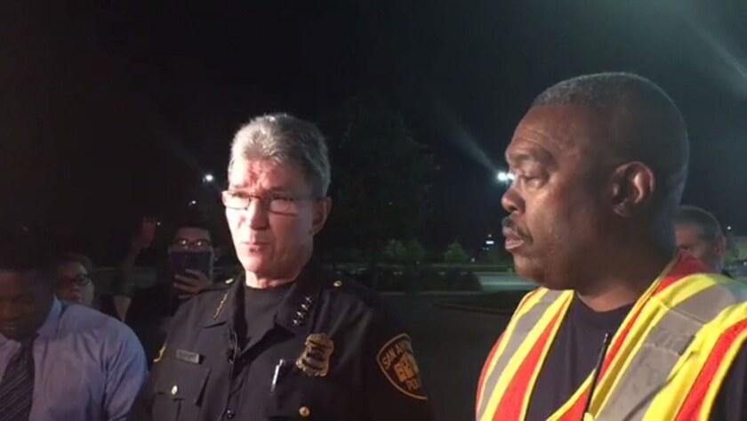 San Antonio Police Chief William McManus, left, and San Antonio Fire Chief Charles Hood speak to rep