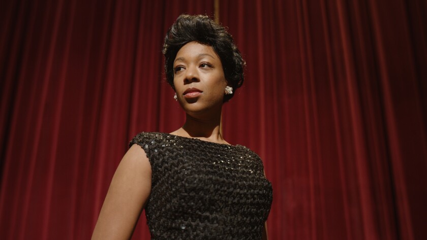 "Samira Wiley as Lorraine Hansberry at the Broadway premiere of her play ""A Raisin in the Sun,"" in HBO Max's ""Equal."""