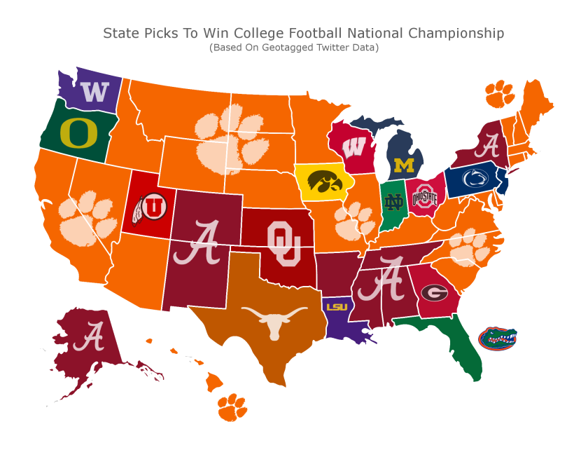 Sports betting insider website casinoinsider.com put a map together using geotagged Twitter data tracking over 100,000 tweets that discuss who will win the 2019 College Football Playoff.