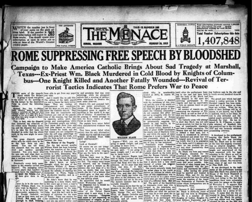 A 1915 edition of the Menace, a virulently anti-Roman Catholic newspaper published in Aurora, Mo. At its height, it had 1.5 million weekly subscribers — a circulation that dwarfed the largest daily newspapers in New York and Chicago.