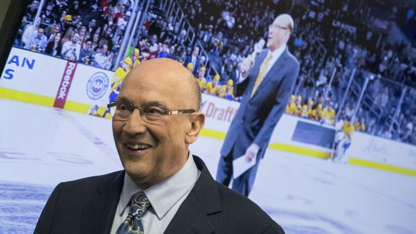 Los Angeles Kings announcer Bob Miller arrives to announce his retirement due to health concerns dur