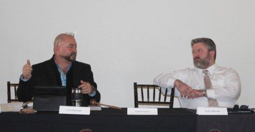 La Jolla Village Merchants Association Board President Claude-Anthony Marengo (left) and board trustee Justin Stewart.