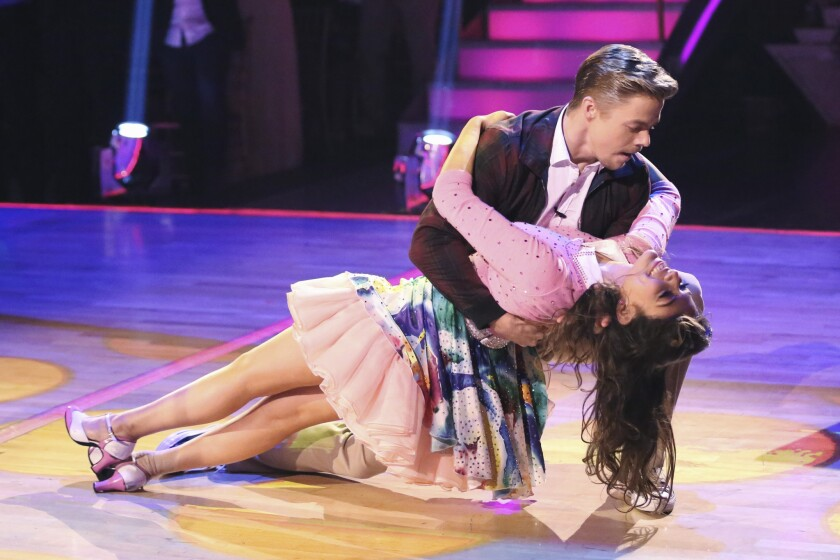 """Derek Hough and YouTube star Bethany Mota dance during the season premiere of """"Dancing With the Stars."""""""
