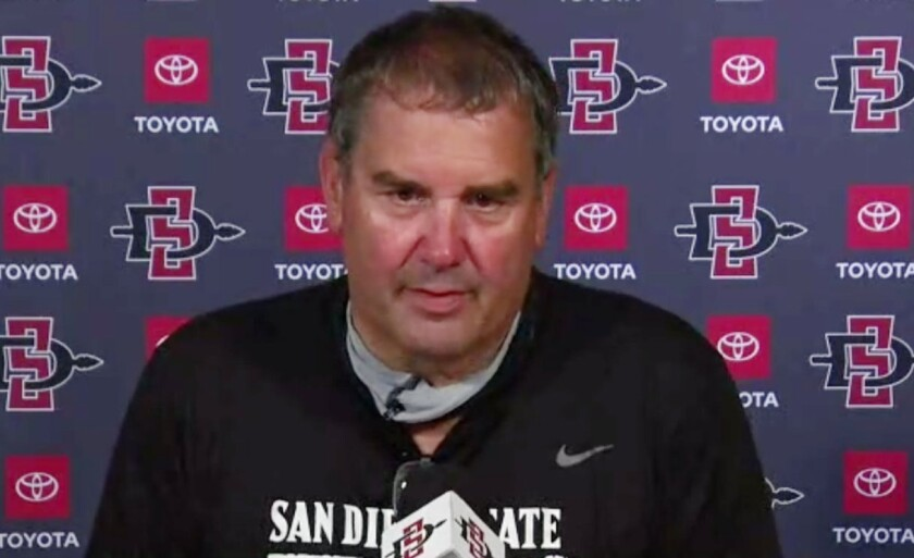 San Diego State head coach Brady Hoke provided an update on spring football through four practices.