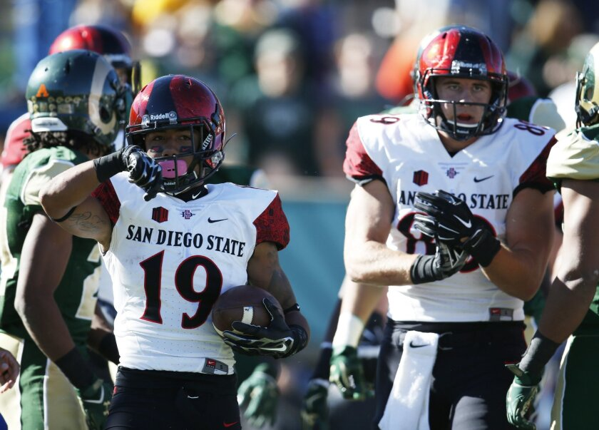 San Diego State running back Donnel Pumphrey, left, celebrates after rushing for a one-yard touchdown as tight end Daniel Brunskill looks on against Colorado State.