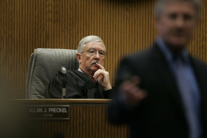 Judge Allan Preckel presides over the murder trial in El Cajon Superior Court of Franko Bernal in 2009.