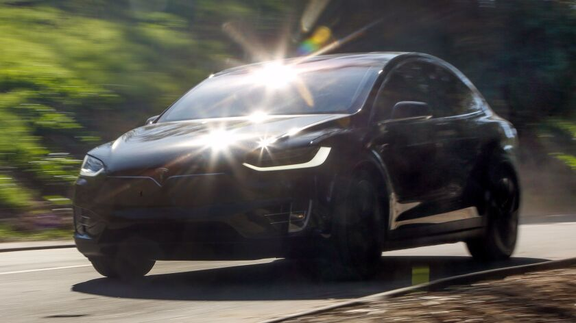 LOS ANGELES, CA, JANUARY 31, 2017: The Tesla Model X, P100D is an all-electric, all wheel drive, spo