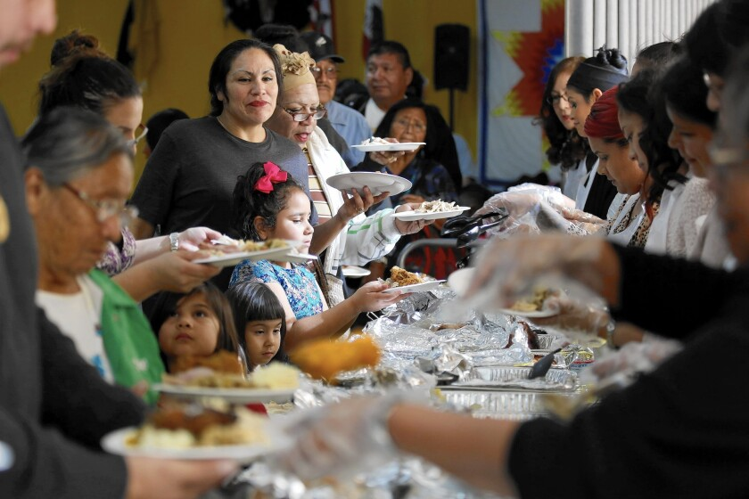 More than 300 people joined the United American Indian Involvement group's Thanksgiving meal this year.