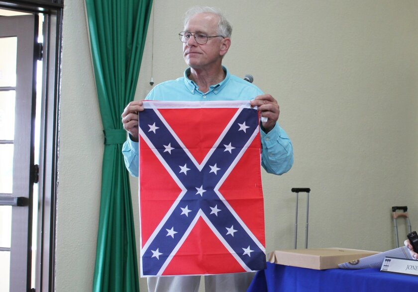 During the LJTC meeting, Howard Singer, whose group is seeking a permit to hold its own holiday parade in December, likened the continued use of the word 'Christmas' in La Jolla's holiday parade to flying the confederate flag (viewed by many as a symbol of slavery). Just as South Carolina stopped f