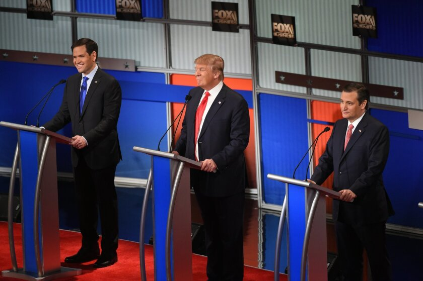 Republican presidential candidate, Sen. Marco Rubio, R-Fla., Republican presidential candidate, businessman Donald Trump  and Republican presidential candidate, Sen. Ted Cruz, R-Texas, from left, participate during the Fox Business Network Republican presidential debate at the North Charleston Coli