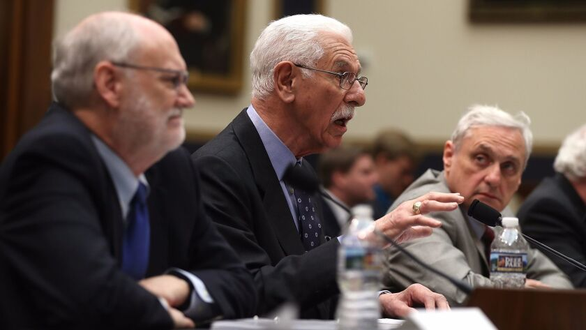 9th Circuit Judge Carlos Bea, center, addresses House Judiciary Committee hearing last month with fellow Judges Sidney Thomas, left, and Alex Kozinski.