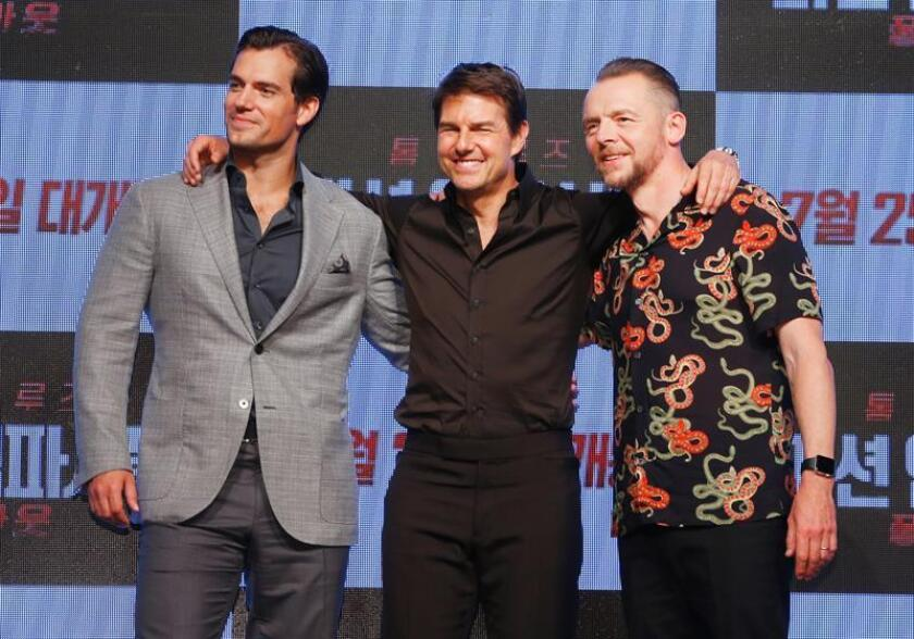 British actor Henry Cavill (L), American actor Tom Cruise (C) and British actor Simon Pegg (R) pose for photos during a press conference for the movie premiere of 'Mission:Impossible-Fallout'. EFE/EPA/FILE