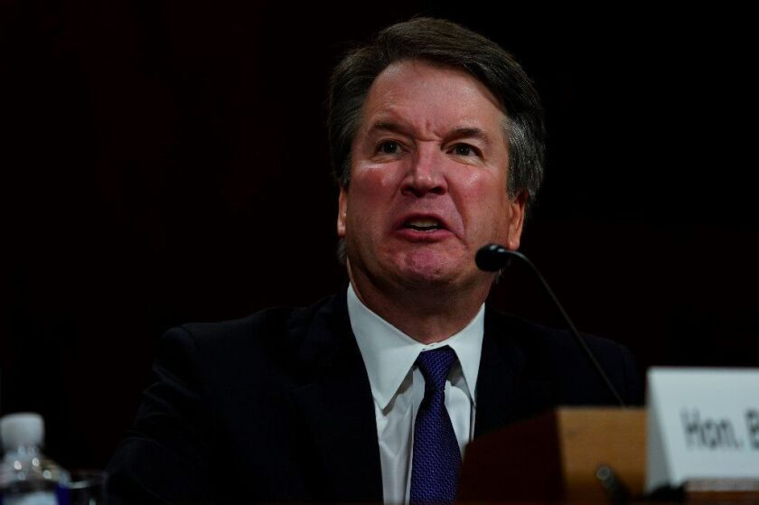 Supreme court nominee Brett Kavanaugh testifies before the Senate Judiciary Committee on Capitol Hill in Washington, DC on September 27, 2018.