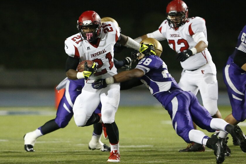 Imperial running back Royce Freeman finished his prep career as the San Diego Section's career leader in rushing yards at 7,601.