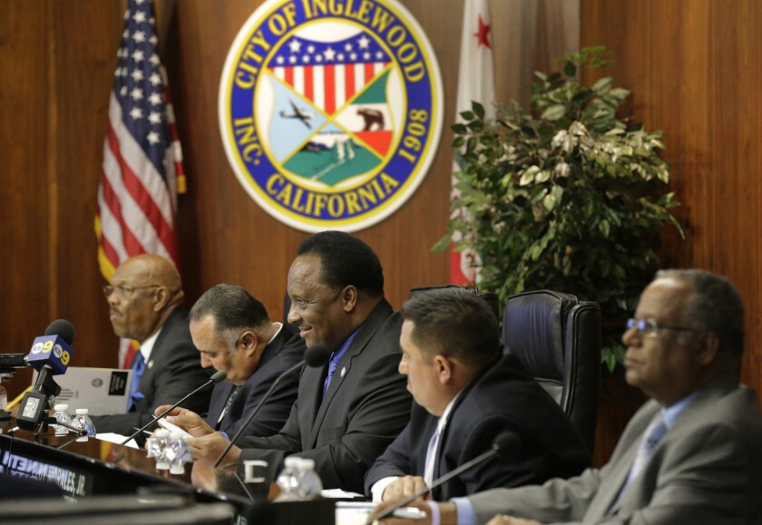The Inglewood City Council at a meeting on Feb. 24.