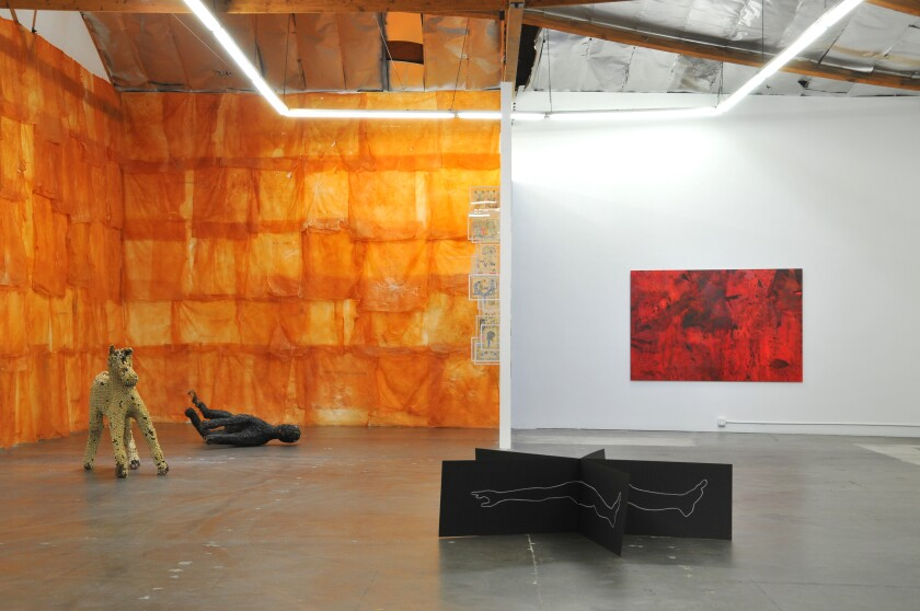 """An installation view of works by Vietnamese artists in """"Where the Sea Remembers."""""""