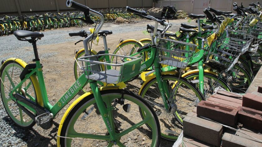 CORONADO, July 3, 2018 | Over a hundred dockless bikes that have been impounded are stored at the 4t