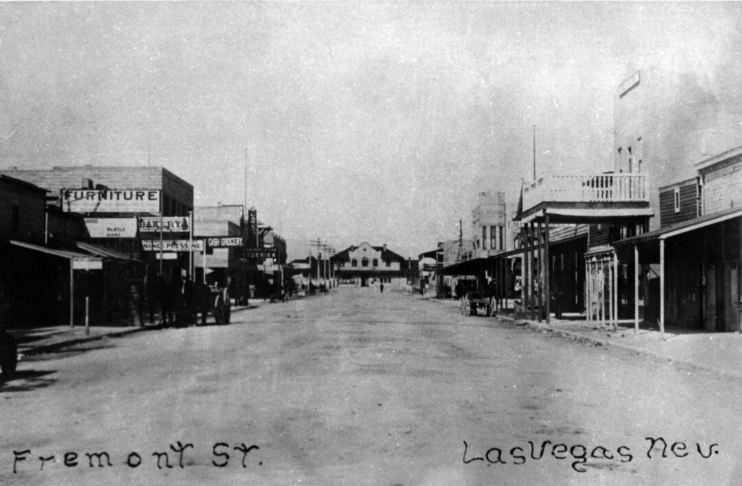 View of Las Vegas' Fremont Street circa 1900.