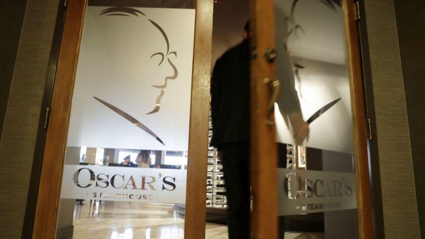 LAS VEGAS, NV - SEPTEMBER 20, 2018: A man enters Oscar's restaurant at The Plaza casino Thursday, Se