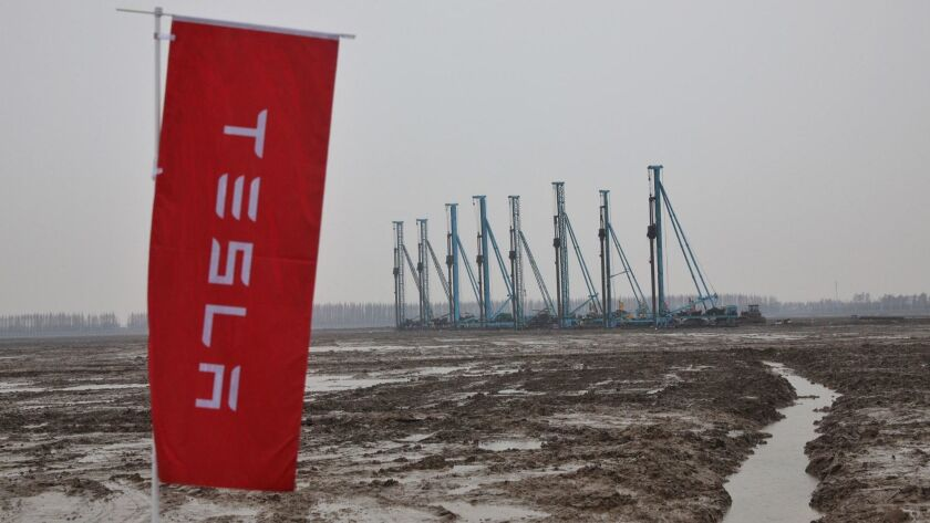 The construction site of Tesla's Shanghai factory during a ground-breaking ceremony.