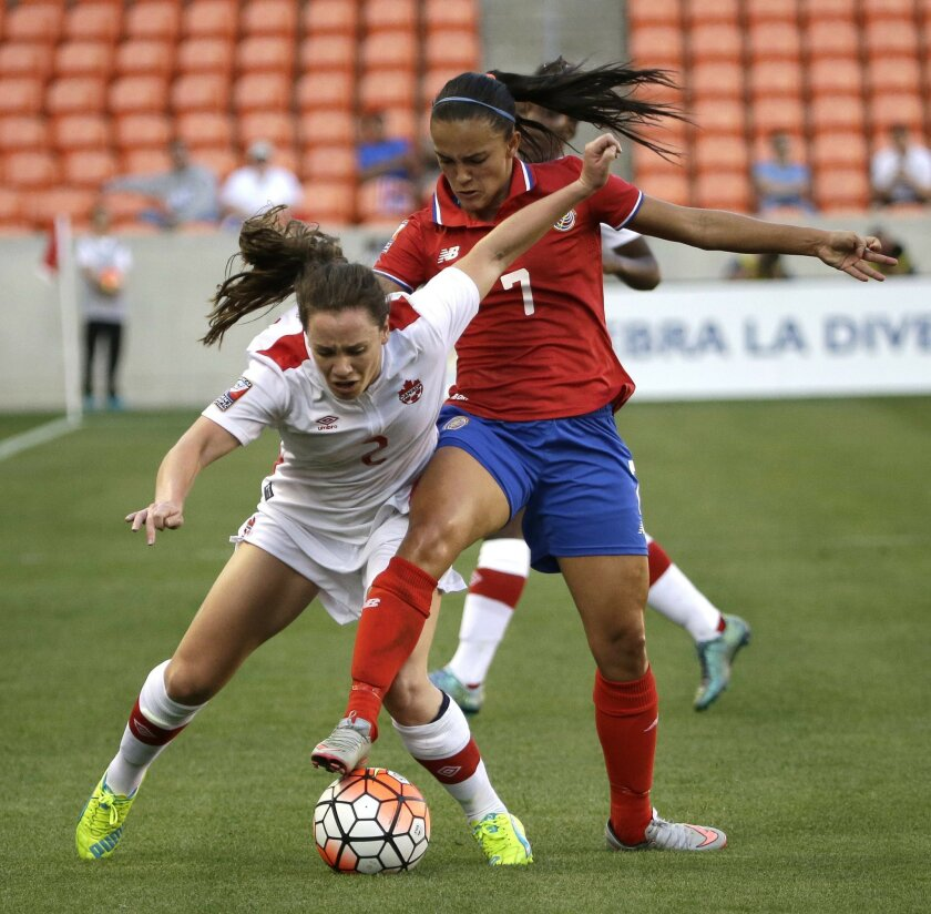 Costa Rica's Melissa Herrera (7) challenges Canada's Allysha Chapman (2) for the ball during the first half of a CONCACAF Olympic women's soccer qualifying championship semifinal Friday, Feb. 19, 2016, in Houston. (AP Photo/David J. Phillip)