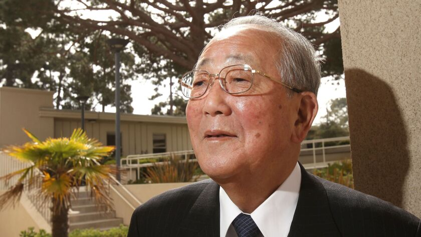 Kazuo Inamori during a 2015 visit to San Diego.