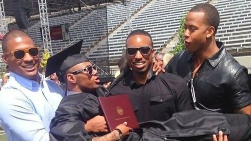 From left to right, Mike McCord, Brandon Dodson, Andrew Swink and Rams cornerback Trumaine Johnson at Dodson's college graduation a few years ago. The former Montana teammates bonded over football and Monopoly.