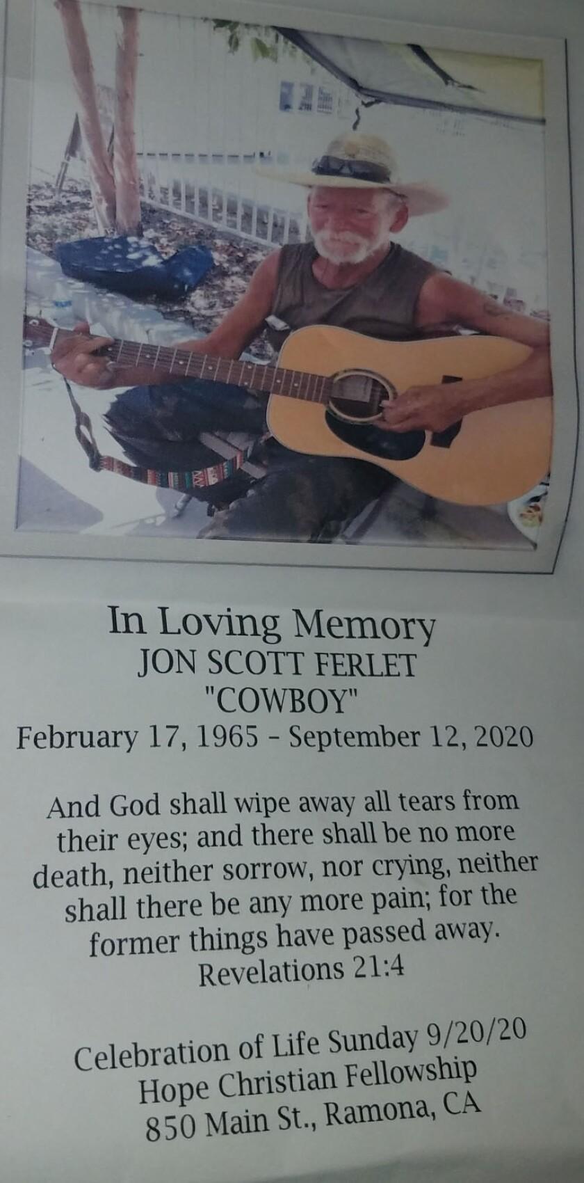 A Celebration of Life will be held for Jon Scott Ferlet at noon Sunday, Sept. 20, at Hope Christian Fellowship church.