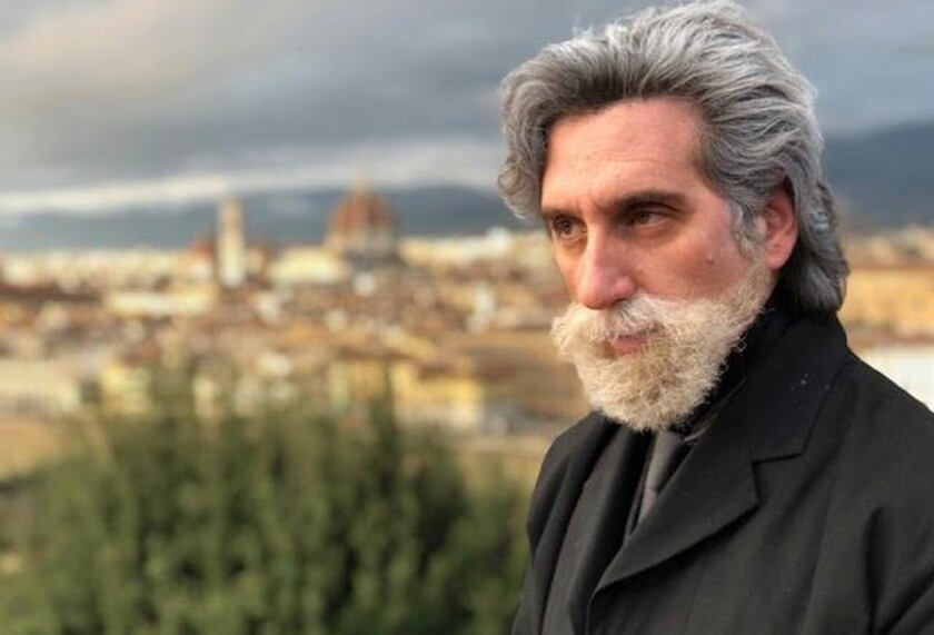 "Hershey Felder films a scene in Florence, Italy, for ""Hershey Felder: Tchaikovsky."""