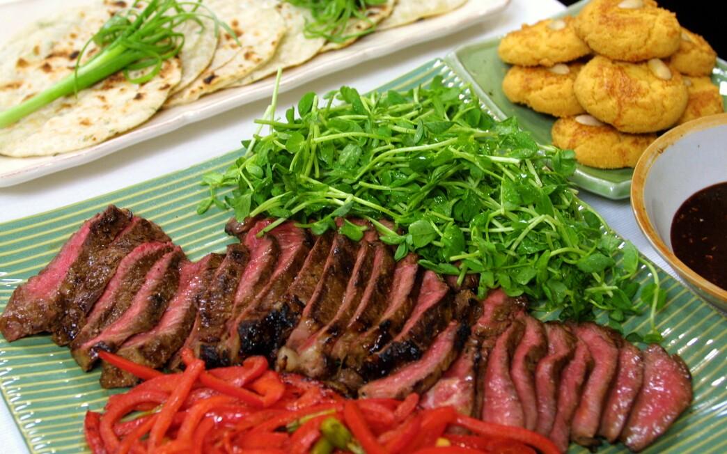 Quick Fix--Quick Hoisin--Hoisin marinated steak in spring onion pancakes.