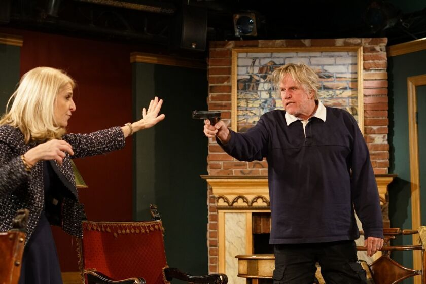 "Catherine Russell and Gary Busey during rehearsals for ""Perfect Crime."""