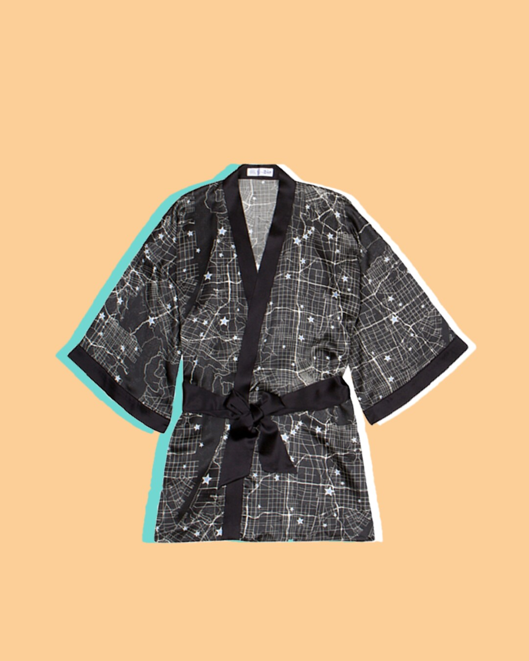 Black and white star map robe from Fred Segal