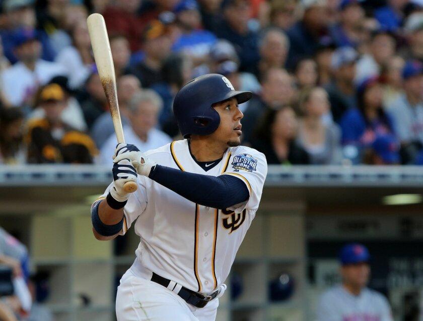 Padres' Jon Jay hits a three run homer in the 3rd. inning.