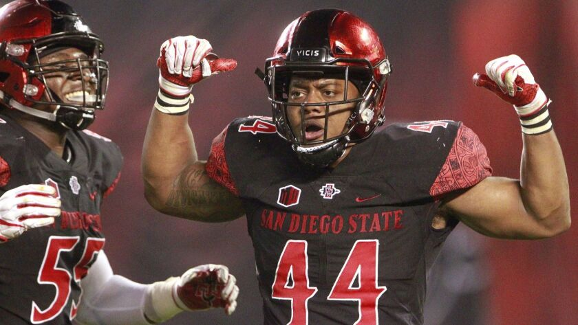 San Diego State linebacker Kyahva Tezino was named Mountain West Defensive Player of the Week for the second time this season.