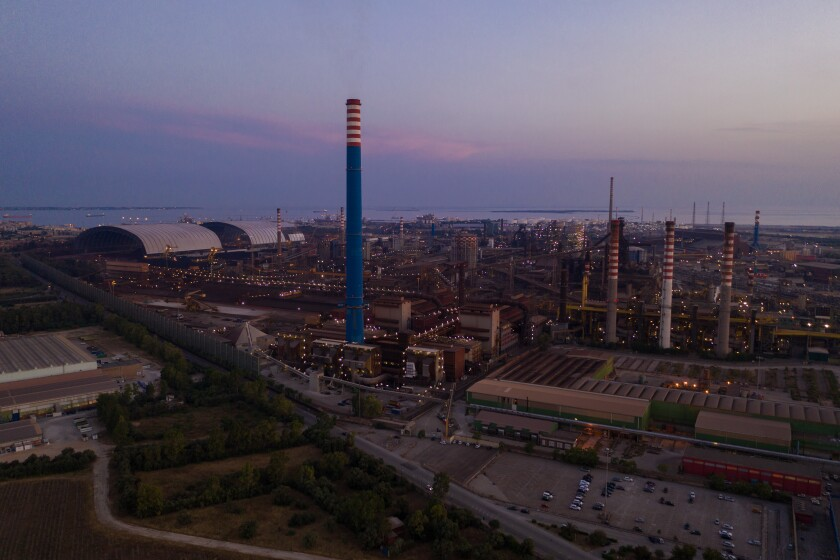 Aerial view of Ilva, the steel plant.