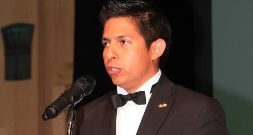 Maximino Melchor Vázquez, 23, shown last month singing the Mexican national anthem at an event in Ottawa, Canada. / courtesy photo