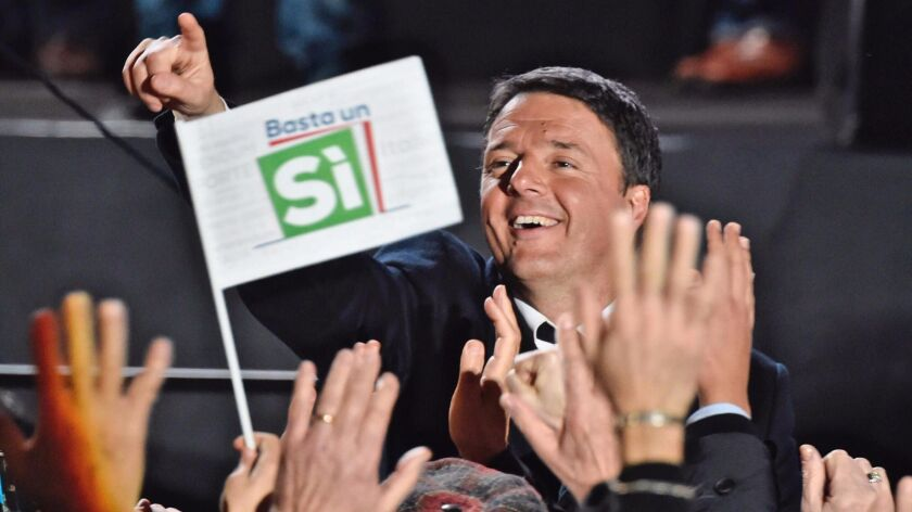Prime Minister Matteo Renzi addresses a rally on the upcoming Italian constitutional referendum in Florence on Dec. 2, 2016.