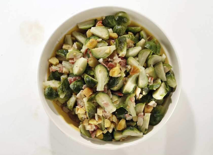 Brussels sprouts braised with bacon and chestnuts.