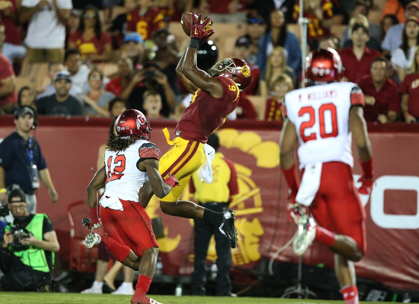 USC receiver JuJu Smith-Schuster makes a leaping fourth quarter touchdown reception against Utah.