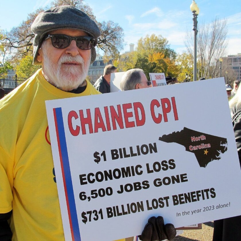 A D.C. protester speaks out against cutting Social Security benefits.