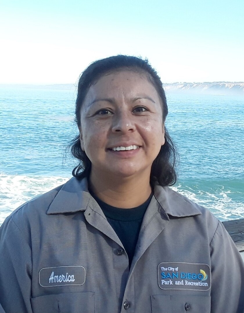 San Diego Parks & Recreation Department employee America Diaz's mission is to keep La Jolla's Scripps Park clean.