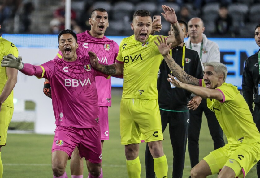 Liga MX players celebrate after beating MLS in the MLS All-Star Skills Challenge.