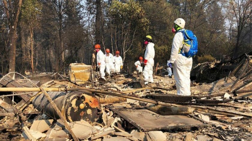 Volunteer members of an El Dorado County search-and-rescue team look for human remains in Paradise, Calif., after the Camp fire.