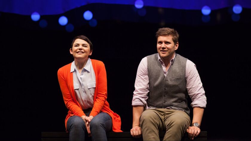 "Goodwin and Leech in ""Constellations"" at the Geffen Playhouse."