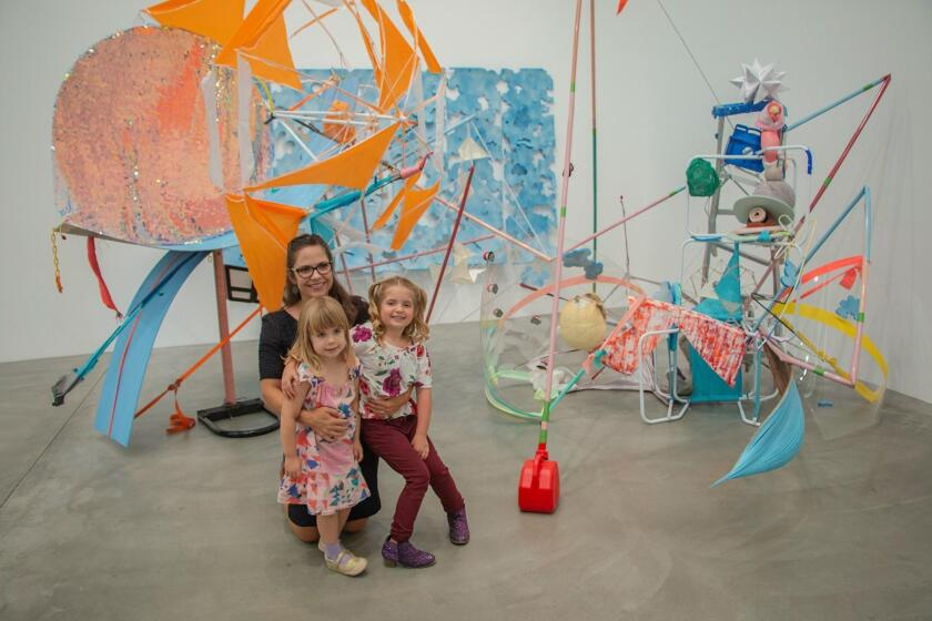 Kim Dawsey-Richardson and her 5-year-old daughter, Avila, and 3-year old niece, Willa (daughter of curator Jill Dawsey), at Brianna Riggs' installation, 'Blues in the Blender.' Born in Oregon, Riggs is based in San Diego.