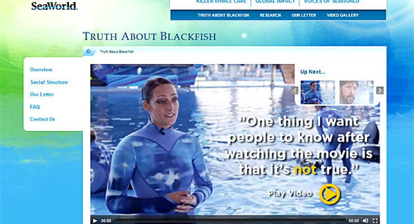 "A screenshot of the new ""Truth about Blackfish"" section that SeaWorld recently posted on its corporate website."
