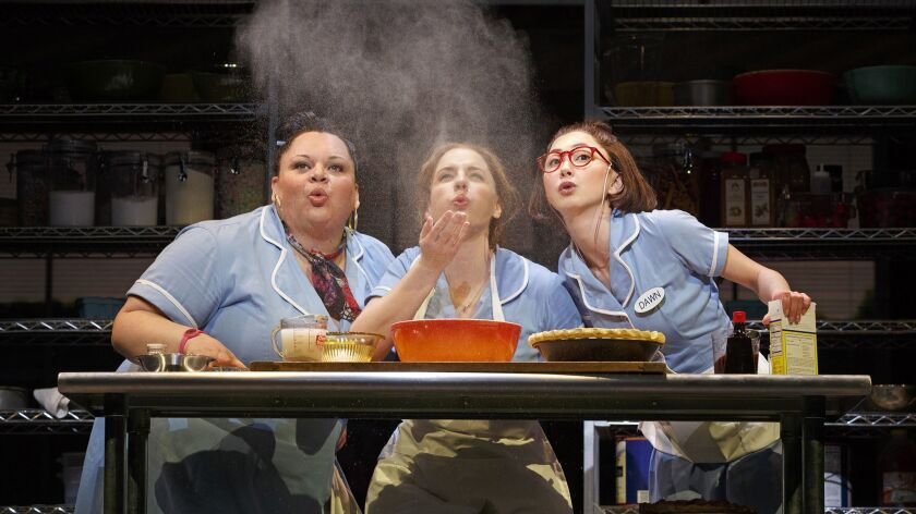 This image released by Boneau/Bryan-Brown shows, Keala Settle, left, Jessie Mueller and Kimiko Glenn