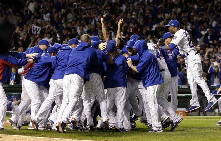 FILE - In this Oct. 13, 2015, file photo, Chicago Cubs players celebrate after winning Game 4 in baseball's National League Division Series, in Chicago. The Cubs look about as locked and loaded as any team after a 97-win season that catapulted them to the NLCS and sparked hope among their long-suff