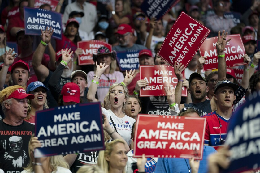 Supporters of President Trump cheer at a campaign rally June 20 in Tulsa, Okla.